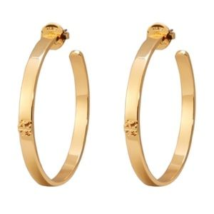 TORY BURCH • Gold Kira Logo Hoop Earrings